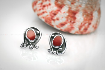 coral sterling silver earrings 350 11 1096